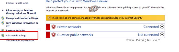 برنامه در فایروال ویندوز 1