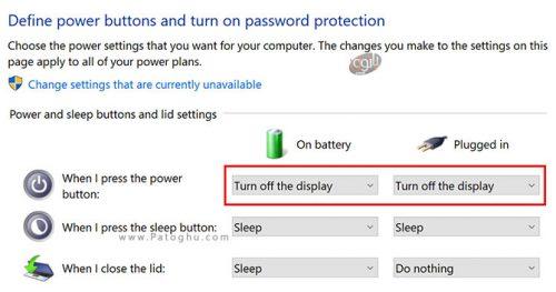 خاموش کردن صفحه نمایش لپ تاپ با استفاده از دکمه Power