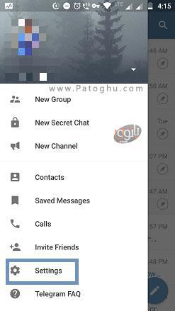 انتخاب گزینه تنظیمات تلگرام