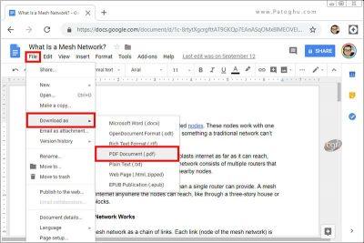 پرینت فایل پی دی اف گوگل داکس