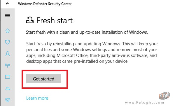 """ریست ویندوز با استفاده از آپشن """"Fresh Start"""