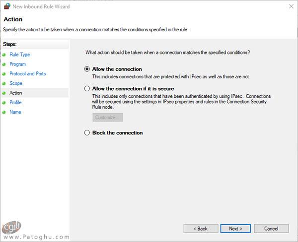 تنظیم فایروال ویندوز برای دسترسی به یک رنج IP-5