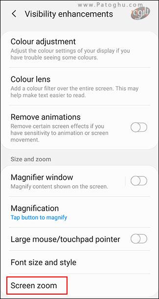 افزایش اندازه متن و فعال کردن بزرگنمایی صفحه در اندروید-4