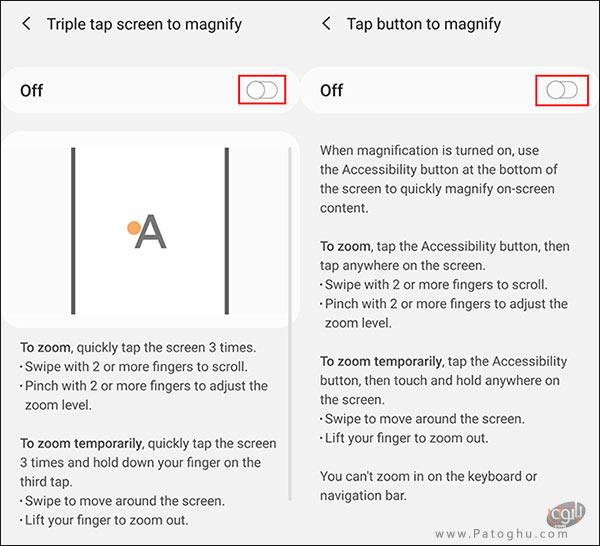 فعال کردن گزینه ی Screen Magnification-4