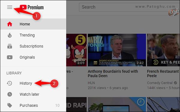 حذف موارد دلخواه از تاریخچه ی تماشای یوتیوب-1