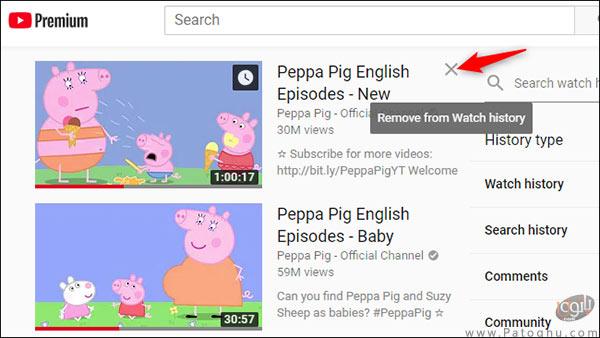 حذف موارد دلخواه از تاریخچه ی تماشای یوتیوب-2