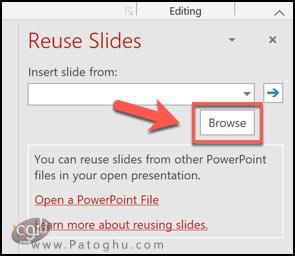 ترکیب فایل های پاورپوینت با استفاده از گزینه ی Reuse Slides-2